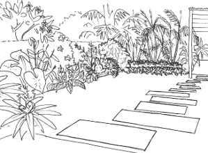 Staggered rectangular stepping stones make a change from the square pavers often seen on Balinese gardens